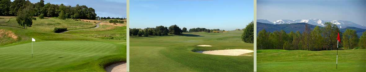 Parkland and links golf courses, fairways and bunkers