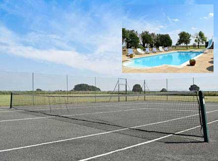 All weather tennis court and swimming pool