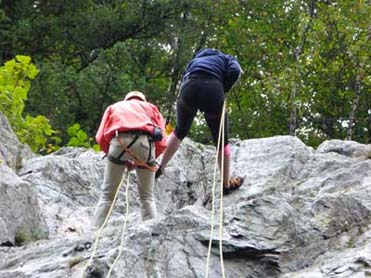 rock climbing with ropes