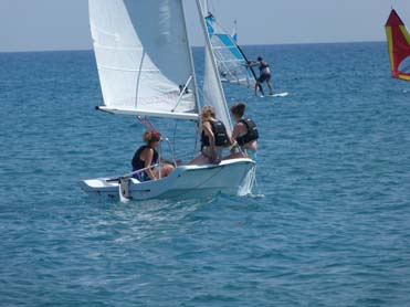 group sailing and windsurfing regatta