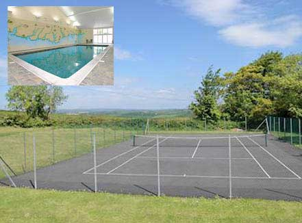 Tennis court and indoor swimmingpool